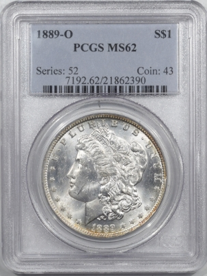 Coin World/Numismatic News Featured Coins 1889-O MORGAN DOLLAR – PCGS MS-62, PREMIUM QUALITY!