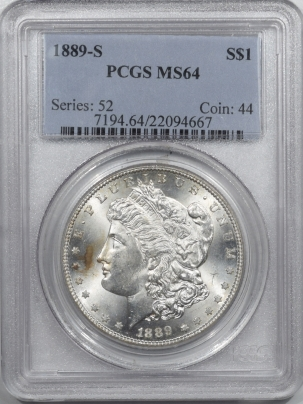 Coin World/Numismatic News Featured Coins 1889-S MORGAN DOLLAR – PCGS MS-64
