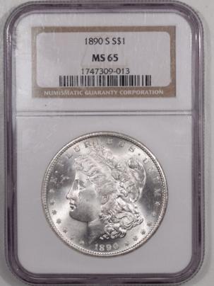 Morgan Dollars 1890-S MORGAN DOLLAR NGC MS-65, BLAST WHITE & PREMIUM QUALITY!