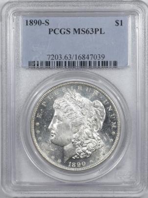 Morgan Dollars 1890-S MORGAN DOLLAR – PCGS MS-63 PL WHITE, MIRRORS!