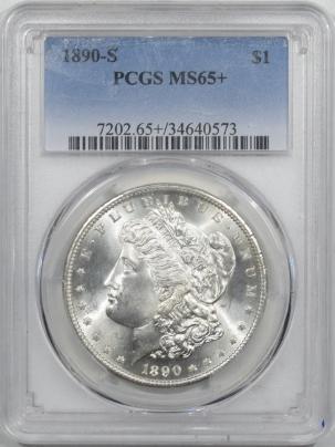 Morgan Dollars 1890-S MORGAN DOLLAR – PCGS MS-65+ BLAST WHITE  & PREMIUM QUALITY!