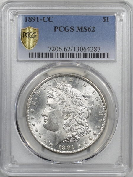 New Certified Coins 1891-CC MORGAN DOLLAR PCGS MS-62, FLASHY WHITE & WELL STRUCK!!