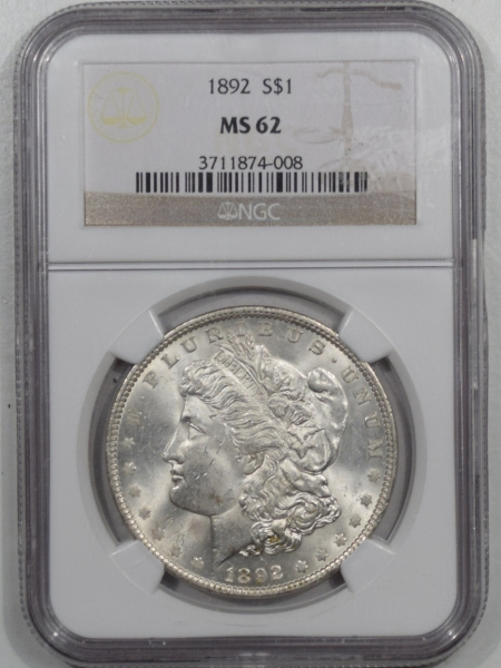 New Certified Coins 1892 MORGAN DOLLAR – NGC MS-62