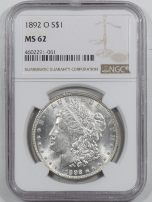 Morgan Dollars 1892-O MORGAN DOLLAR – NGC MS-62 BLAST WHITE!