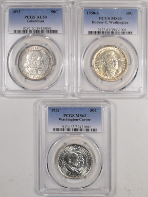 New Certified Coins 1893 COLUMBIAN, 1950-S BTW, 1952 W/C 50c 3 PC LOT – PCGS AU-50, MS-63, MS-63