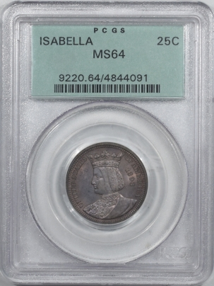 Silver 1893 ISABELLA 25C COMMEMORATIVE – PCGS MS-64 OLD GREEN HOLDER & PREMIUM QUALITY!