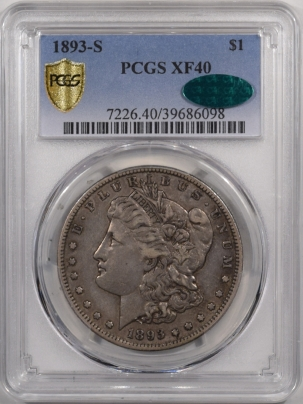 CAC Approved Coins 1893-S MORGAN DOLLAR – PCGS XF-40, WHOLESOME & PERFECT! CAC APPROVED!