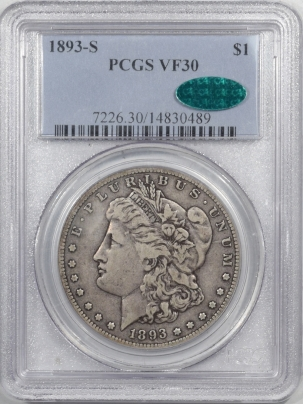 CAC Approved Coins 1893-S MORGAN DOLLAR – PCGS VF-30 CAC APPROVED!