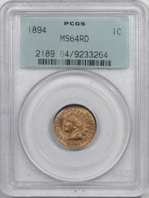 New Certified Coins 1894 INDIAN CENT – PCGS MS-64 RD OLD GREEN HOLDER!