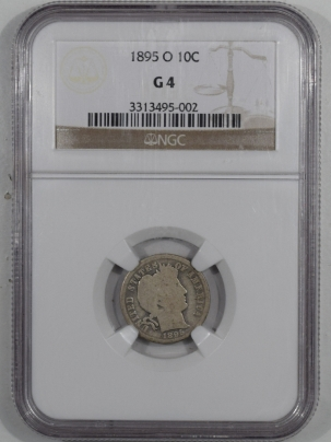 New Certified Coins 1895-O BARBER DIME – NGC G-4 KEY DATE!