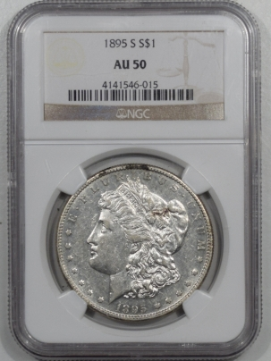 U.S. Certified Coins 1895-S MORGAN DOLLAR, NGC AU-50, MOSTLY WHITE & LIGHTLY CIRCULATED KEY DATE!