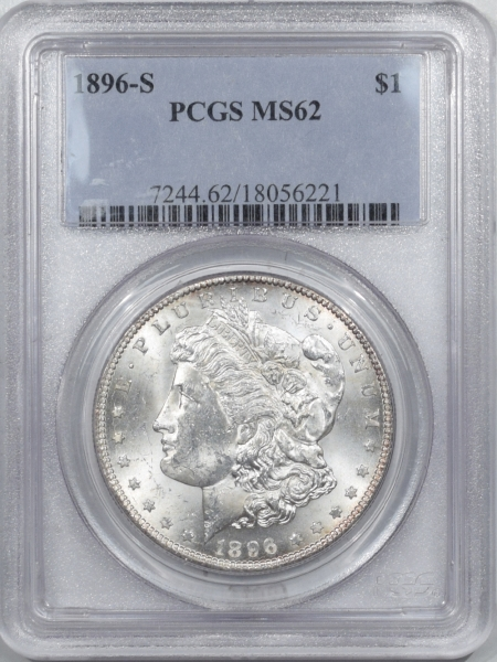 New Certified Coins 1896-S MORGAN DOLLAR – PCGS MS-62, BLAST WHITE, FLASHY & PQ!