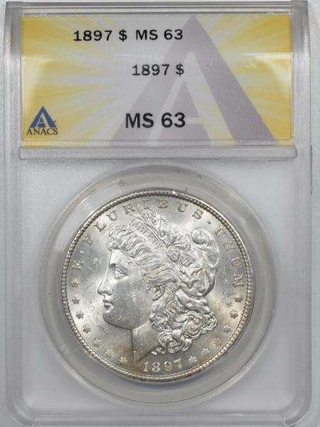 Dollars 1897 MORGAN DOLLAR – ANACS MS-63, FLASHY