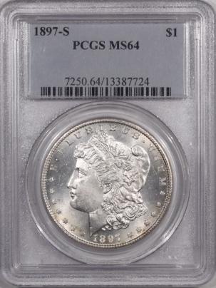Morgan Dollars 1897-S MORGAN DOLLAR PCGS MS-64, PREMIUM QUALITY+!