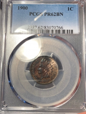 New Certified Coins 1900 PROOF INDIAN CENT – PCGS PR-62 BN