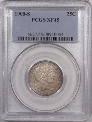 Barber Quarters 1900-S BARBER QUARTER – PCGS XF-45, TOUGH!