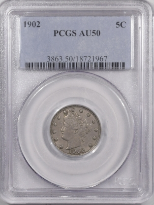 New Certified Coins 1902 LIBERTY NICKEL – PCGS AU-50