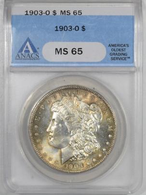 New Certified Coins 1903-O MORGAN DOLLAR ANACS MS-65, FRESH & PRETTY!