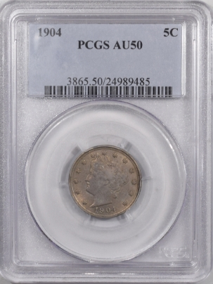 New Certified Coins 1904 LIBERTY NICKEL – PCGS AU-50