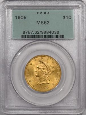 $10 1905 $10 LIBERTY HEAD GOLD – PCGS MS-62 PREMIUM QUALITY! LOOKS MS-63+ OGH!