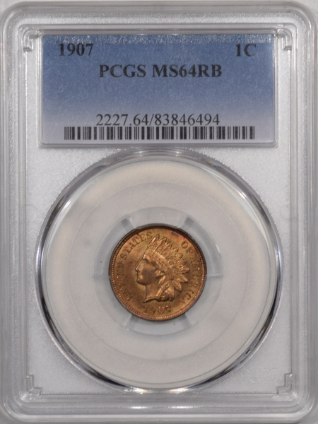 Indian 1907 INDIAN CENT – PCGS MS-64 RB MOSTLY RED!