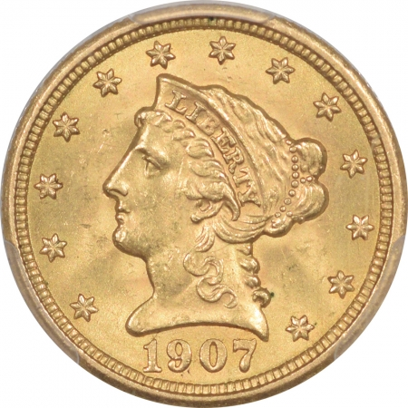 $2.50 1907 $2.50 LIBERTY HEAD GOLD – PCGS MS-64