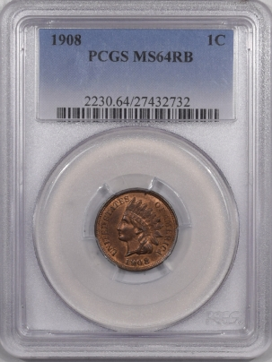 New Certified Coins 1908 INDIAN CENT – PCGS MS-64 RB