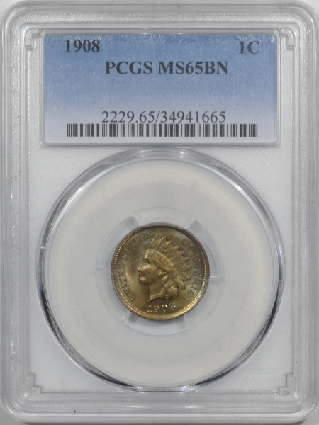New Certified Coins 1908 INDIAN CENT – PCGS MS-65 BN PRETTY & PREMIUM QUALITY!