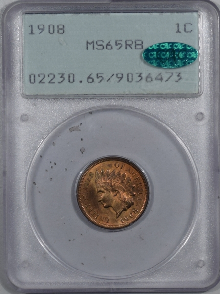 CAC Approved Coins 1908 INDIAN CENT – PCGS MS-65 RB RATTLER, PQ, LOTS OF RED AND CAC APPROVED!