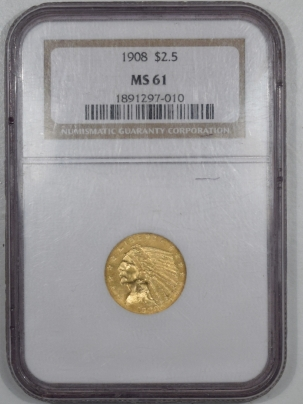 New Certified Coins 1908 $2.50 INDIAN HEAD GOLD – NGC MS-61