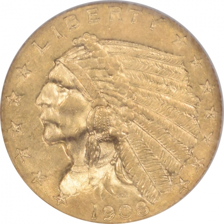 $2.50 1908 $2.50 INDIAN HEAD GOLD – NGC MS-61