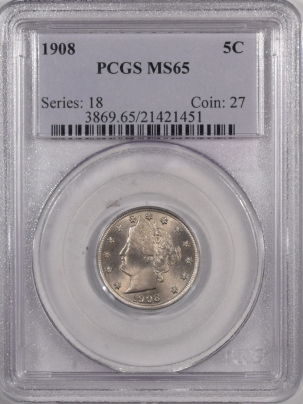 Liberty Nickels 1908 LIBERTY HEAD NICKEL – PCGS MS-65, PREMIUM QUALITY!