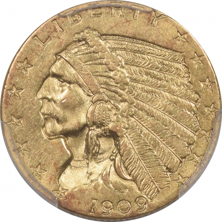 New Certified Coins 1909 $2.50 INDIAN GOLD – PCGS MS-61 TOUGH!