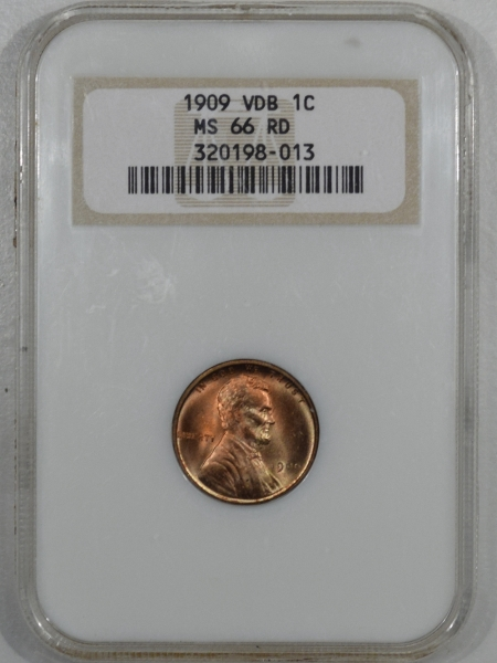 Lincoln Cents (Wheat) 1909-VDB LINCOLN CENT – NGC MS-66 RD FATTIE HOLDER, PRETTY!