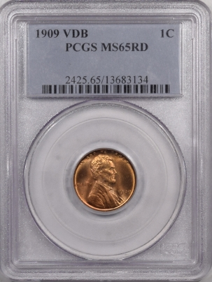 Lincoln Cents (Wheat) 1909 VDB LINCOLN CENT – PCGS MS-65 RD PREMIUM QUALITY!