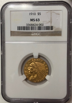 New Certified Coins 1910 $5 INDIAN HEAD GOLD – NGC MS-63
