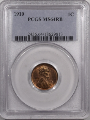 Lincoln Cents (Wheat) 1910 LINCOLN CENT – PCGS MS-64 RB – PREMIUM QUALITY!
