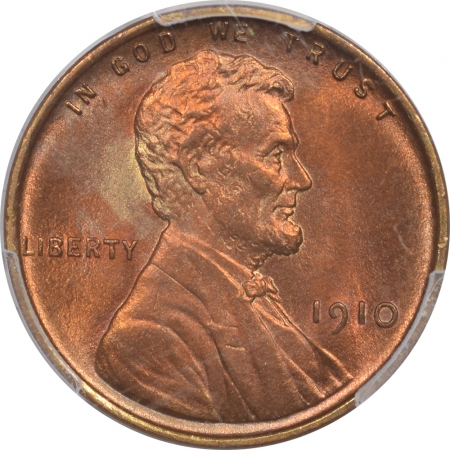 Lincoln Cents (Wheat) 1910 LINCOLN CENT – PCGS MS-64 RD, PRETTY & PREMIUM QUALITY!