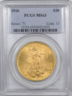 $20 1910 $20 ST GAUDENS GOLD – PCGS MS-63 LOOKS MS-64 BETTER DATE & PREMIUM QUALITY!