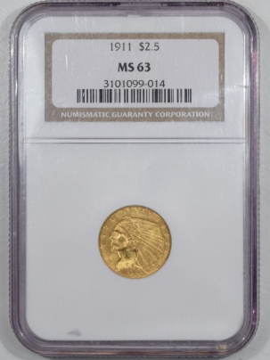 $2.50 1911 $2.50 INDIAN HEAD GOLD – NGC MS-63