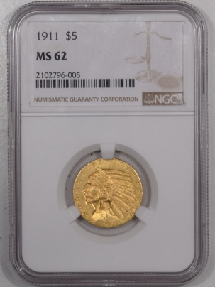 New Certified Coins 1911 $5 INDIAN HEAD GOLD HALF EAGLE – NGC MS-62
