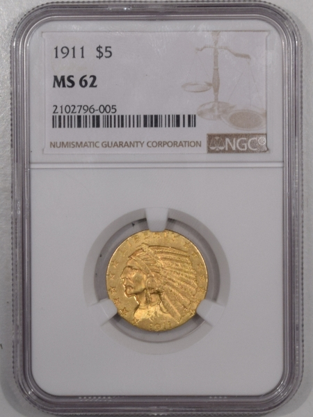 $5 1911 $5 INDIAN HEAD GOLD HALF EAGLE – NGC MS-62