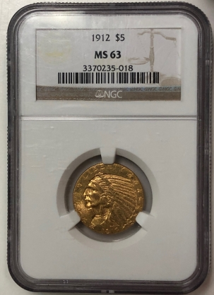 $5 1912 $5 INDIAN HEAD GOLD – NGC MS-63