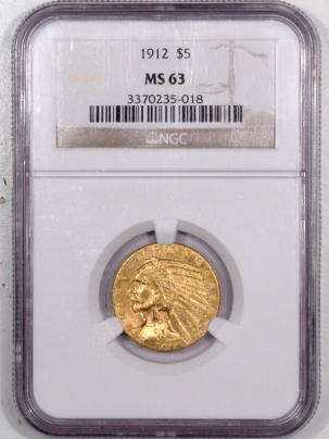 New Certified Coins 1912 $5 INDIAN HEAD HALF EAGLE GOLD – NGC MS-63