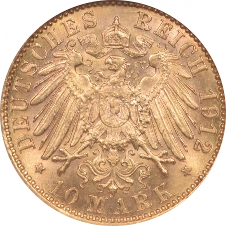 New Certified Coins 1912A GERMANY 10 MARK PRUSSIA GOLD – NGC MS-63, FLASHY!