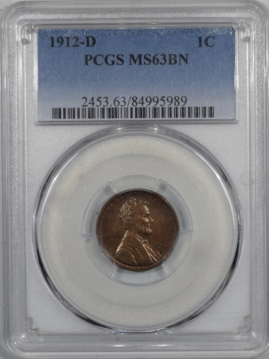 New Certified Coins 1912-D LINCOLN CENT – PCGS MS-63 BN