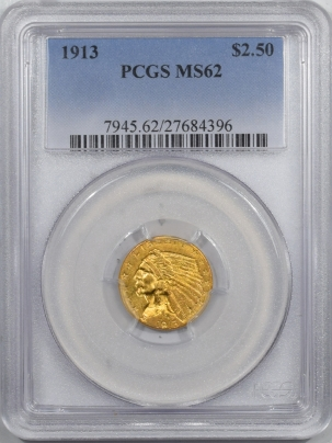 $2.50 1913 $2.50 INDIAN HEAD GOLD – PCGS MS-62 PRETTY & PREMIUM QUALITY!