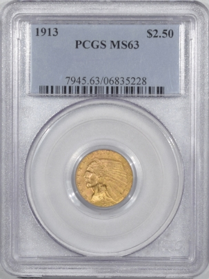 $2.50 1913 $2.50 INDIAN HEAD GOLD – PCGS MS-63
