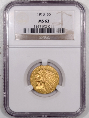 New Certified Coins 1913 $5 INDIAN HEAD GOLD HALF EAGLE – NGC MS-63