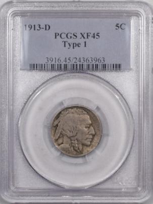 Buffalo Nickels 1913-D BUFFALO NICKEL TY I – PCGS XF-45